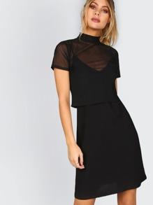 2 In 1 Mesh Slip Dress BLACK