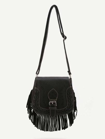 Black Fringe Hem Buckle PU Shoulder Bag