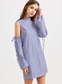 Blue Striped Open Shoulder Ruffle And Drawstring Sleeve Dress