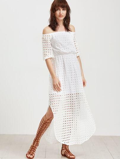Bardot Hollow Out Detail Beach Dress