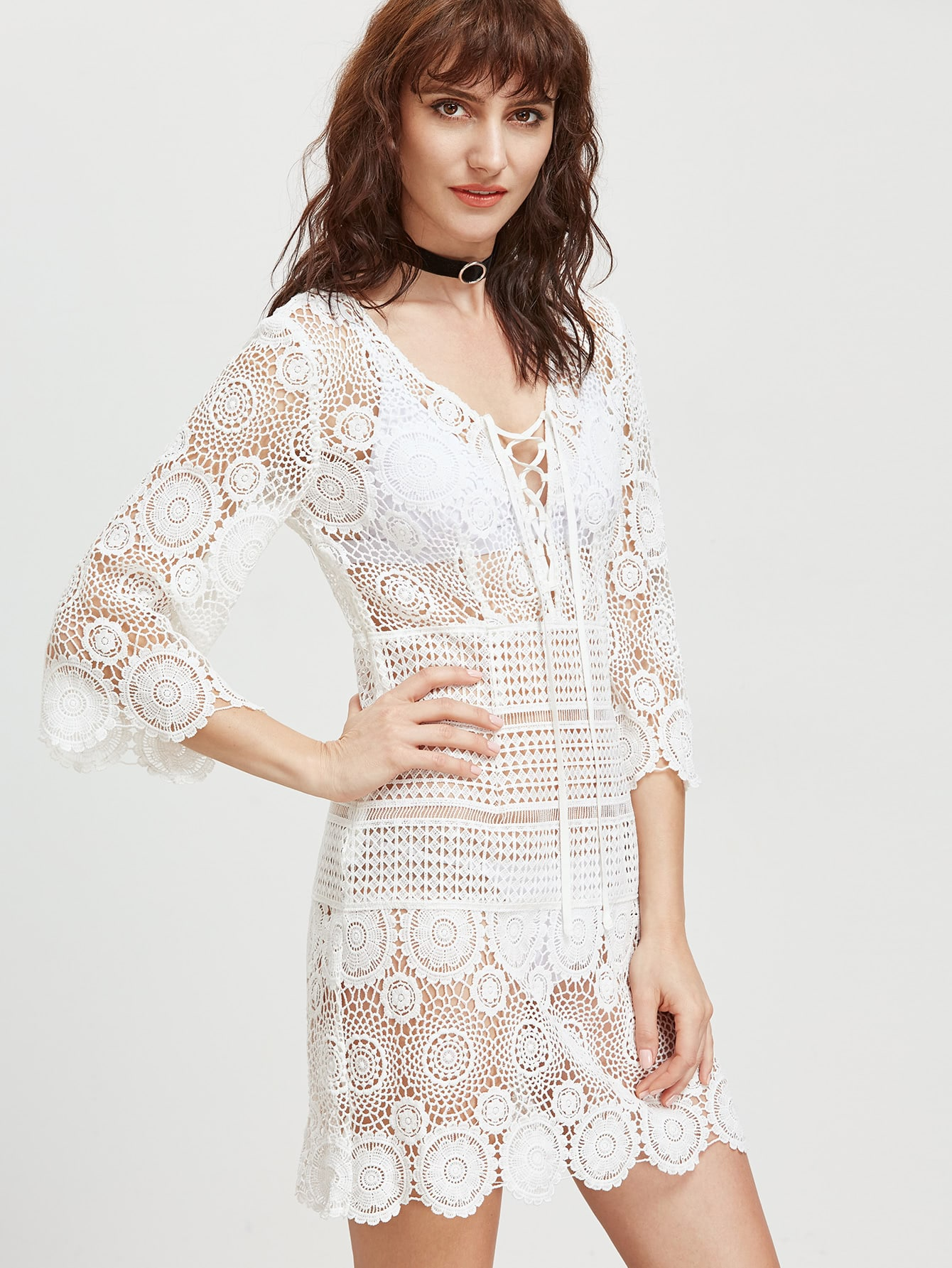 Фото Lace Up Plunge Neck Hollow Out Embroidered Lace Dress. Купить с доставкой