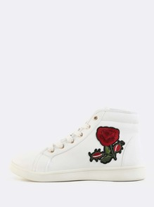 Lace Up Floral Embroidered Sneakers WHITE