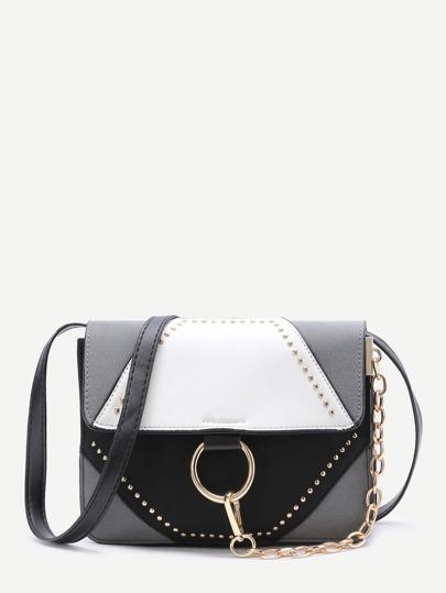 Color Block Studded Chain Detail Shoulder Bag
