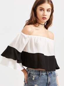 Contrast Off The Shoulder Layered Bell Sleeve Top