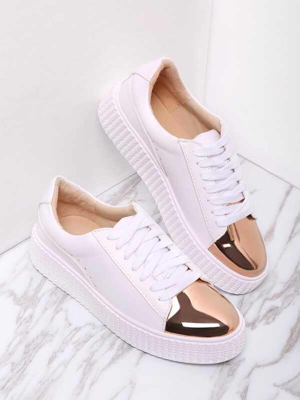 White Contrast Round Toe Rubber Sole Sneakers, null