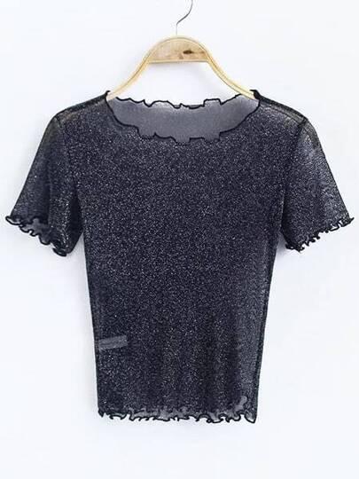 Black Short Sleeve Sheer Top