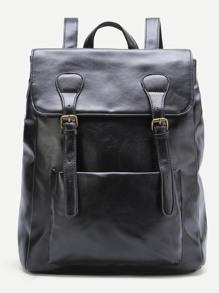 Black Double Buckle Zipper Detail PU Backpack