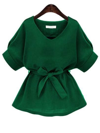 Blusa escote V con lazo - verde