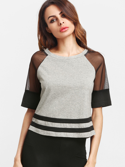 Contrast Mesh Raglan Sleeve Striped Hem T-shirt