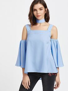 Cold Shoulder Bell Sleeve Swing Top With Neck Tie