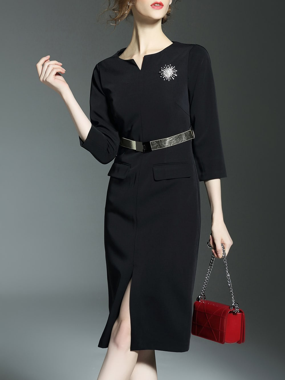 Фото Black V Neck Belted Split Sheath Dress. Купить с доставкой
