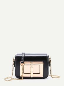 Black Twist Lock Chain Shoulder Bag
