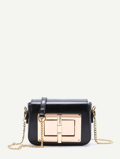 Black Twist Lock Chain Shoulder Bag