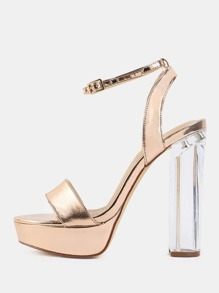 Metallic Chunky Perspex Heels ROSE GOLD