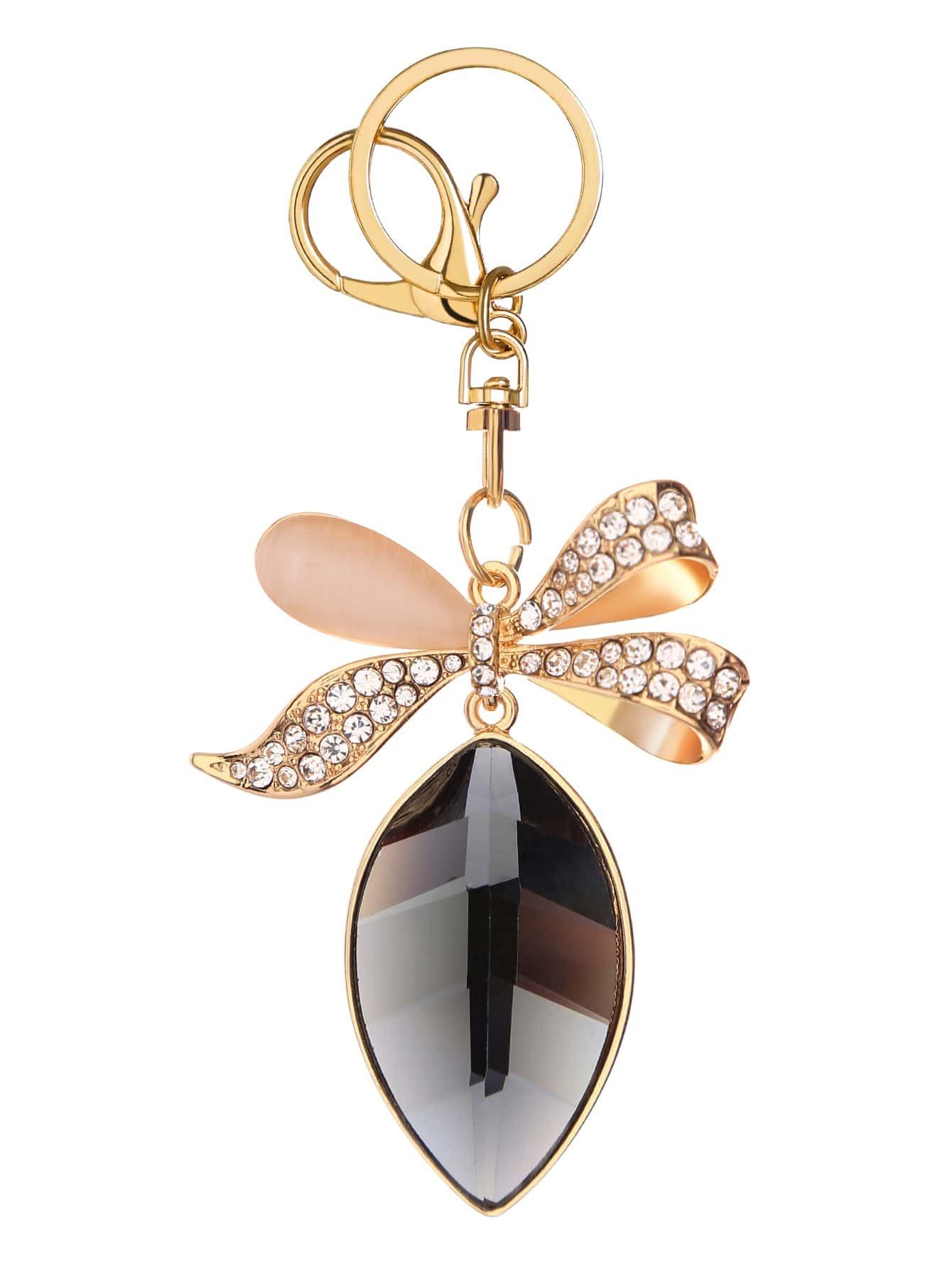 Фото Gold Rhinestone Encrusted Bow Keychain. Купить с доставкой