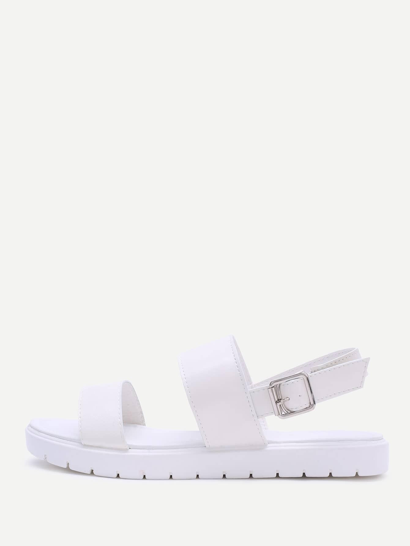 White Strap Pu Flat Sandals thumbnail