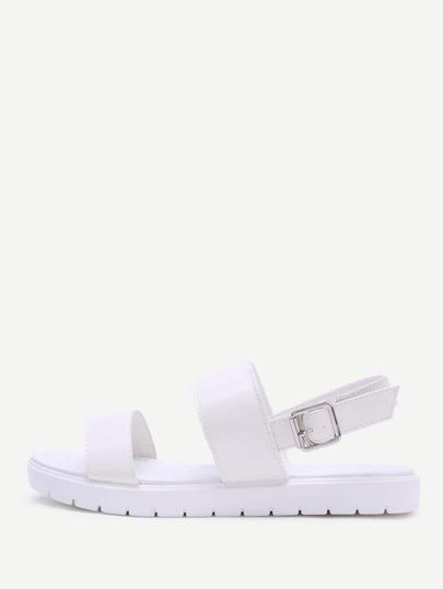 White Strap Pu Flat Sandals