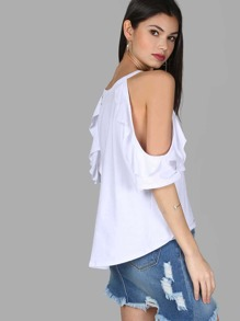 Cold Shoulder Sweater Top WHITE