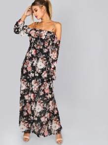 Cut Out Shoulder Floral Frill Maxi Dress BLACK MULTI