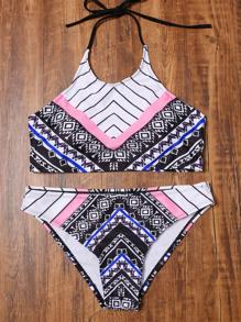 Multicolore stampato Halter Bikini
