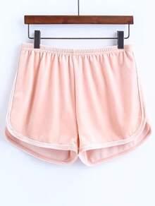 Pink Elastic Waist Velvet Shorts