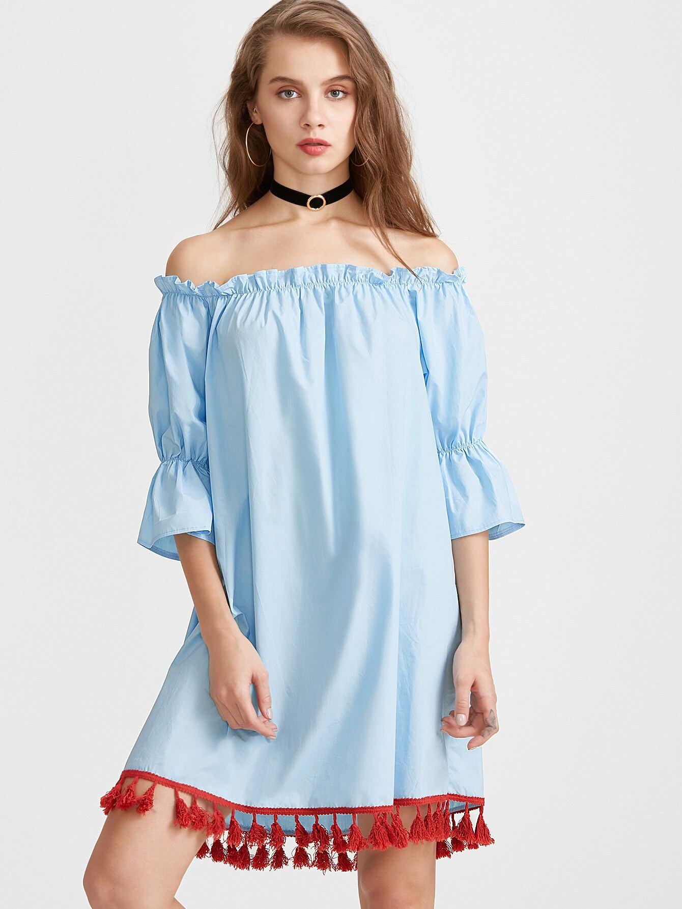 Blue Off The Shoulder Fringe Hem Dress dress170227101