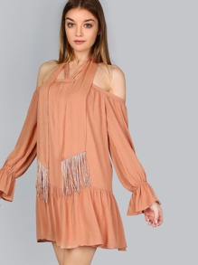 Tassel Halter Flutter Sleeve Dress GINGER