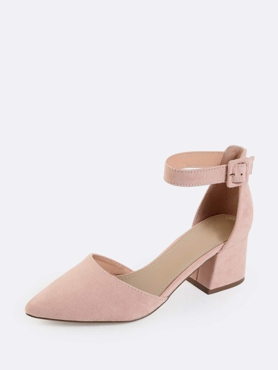 Pastel Pointed Toe Block Heels Blush Shein Sheinside