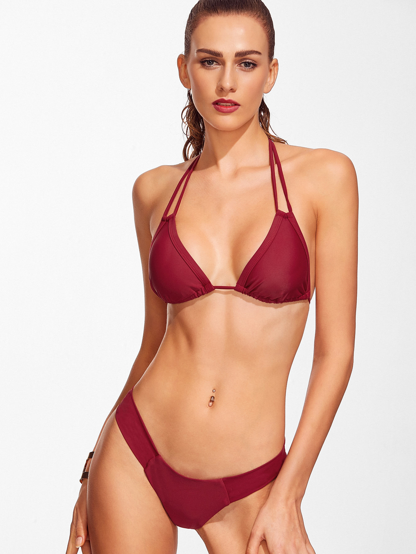 Burgundy Halter Sexy Bikini Set swimwear161124305