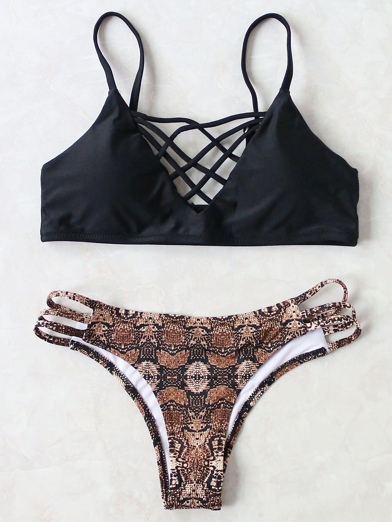 Leopard Criss Cross Sexy Bikini Set swimwear161205306