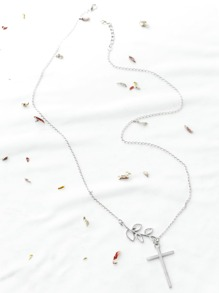 Silver Cross And Leaf Necklace