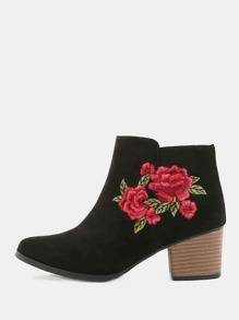 Embroidered Ankle Booties BLACK