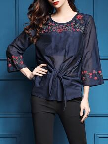 Navy Flowers Embroidered Sheer Blouse