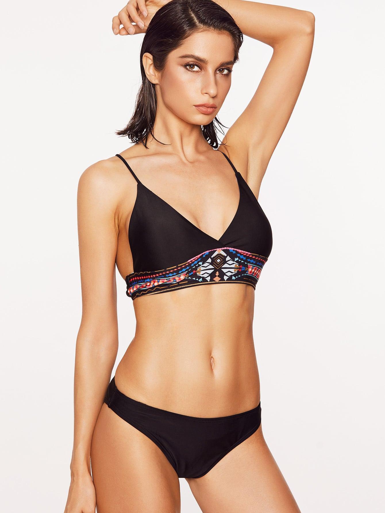 Фото Black Tribal Print Triangle Bikini Set. Купить с доставкой