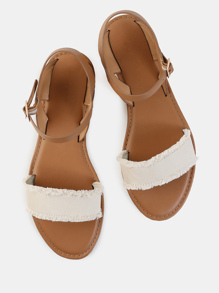 Frayed Canvas Open Toe Sandals BEIGE