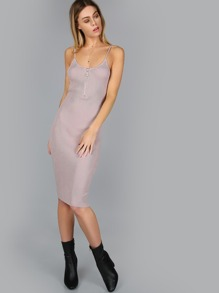 Ribbed Spaghetti Strap Zipper Dress MAUVE
