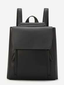 Black Vintage PU Backpack