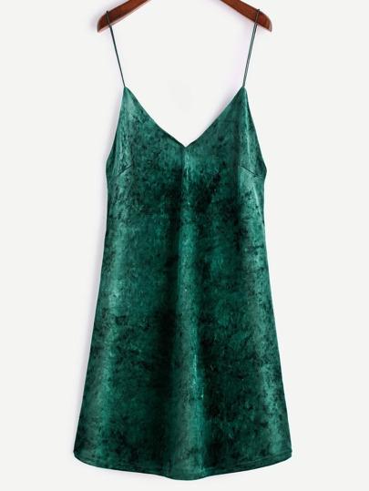 Green Velvet V Neck Slip Dress