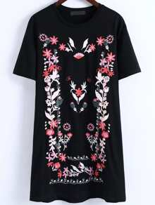 Flower Embroidery T-shirt Dress
