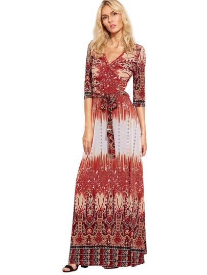 Multicolor Vintage Print Self-tie Waist Long Dress