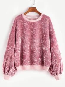 Pink Drop Shoulder Bishop Sleeve Crushed Velvet Sweatshirt