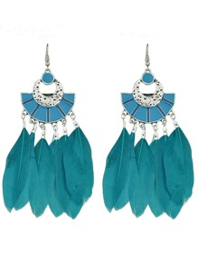 Blue Color Boho Style Feather Big Dangle Earrings