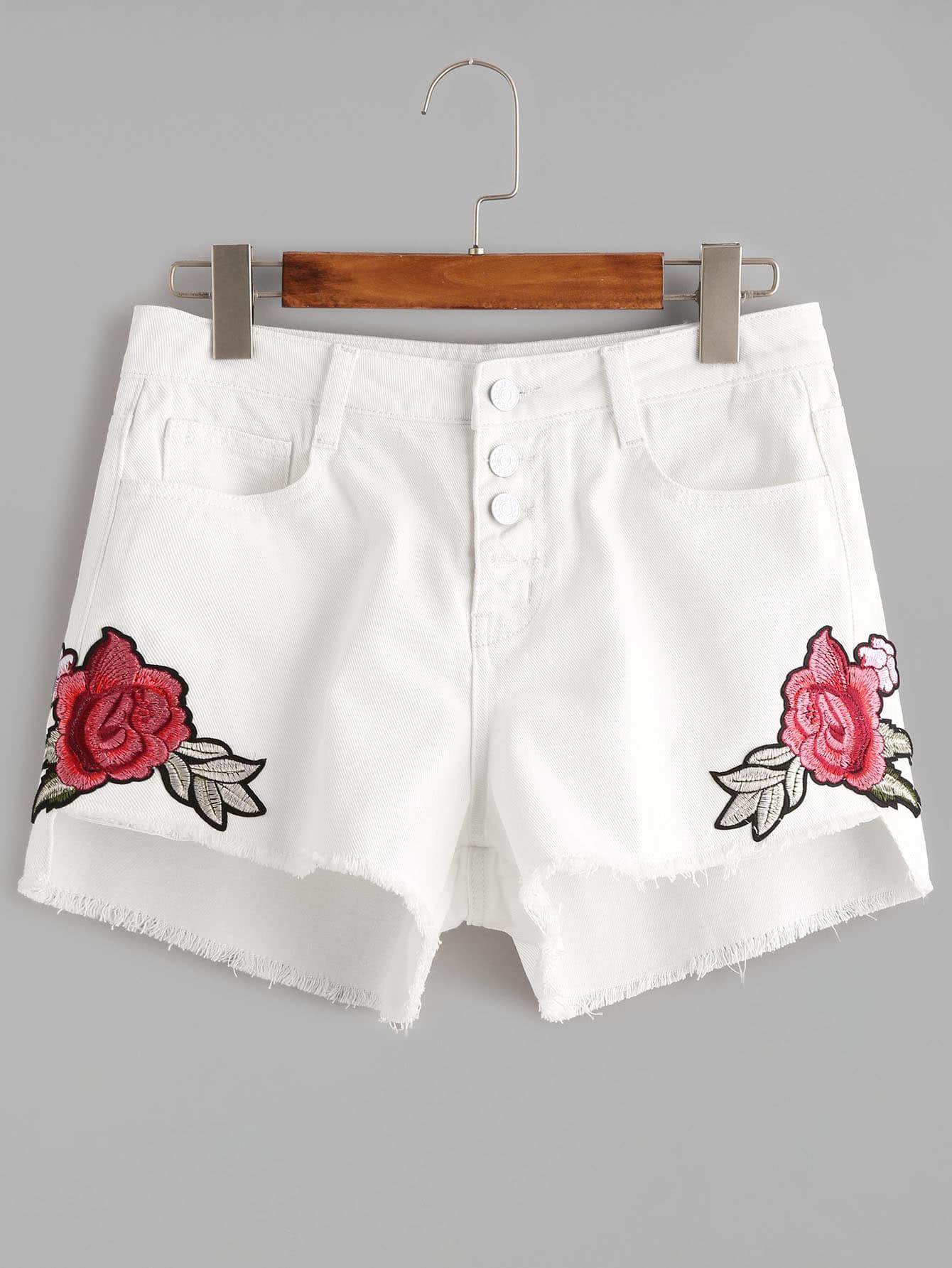 Фото Buttoned Fly Flower Embroidered Stepped Hem Denim Shorts. Купить с доставкой