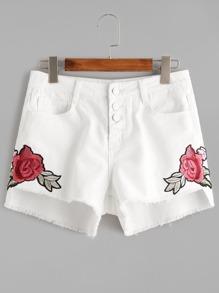 Asymmetrische Jeans-Shorts mit gestickten Blume mit Knöpfen - Weiß