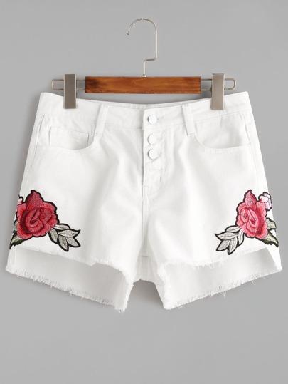 Shorts asimétrico en denim con bordado de flor con botones - blanco