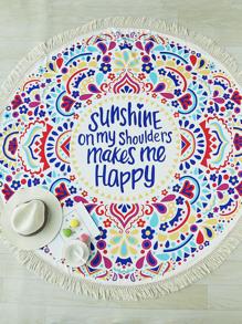 Manta playera redonda con estampado de letra y diseño de flecos - multicolor