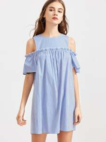 Open Shoulder Button Closure Back Frilled Striped Dress