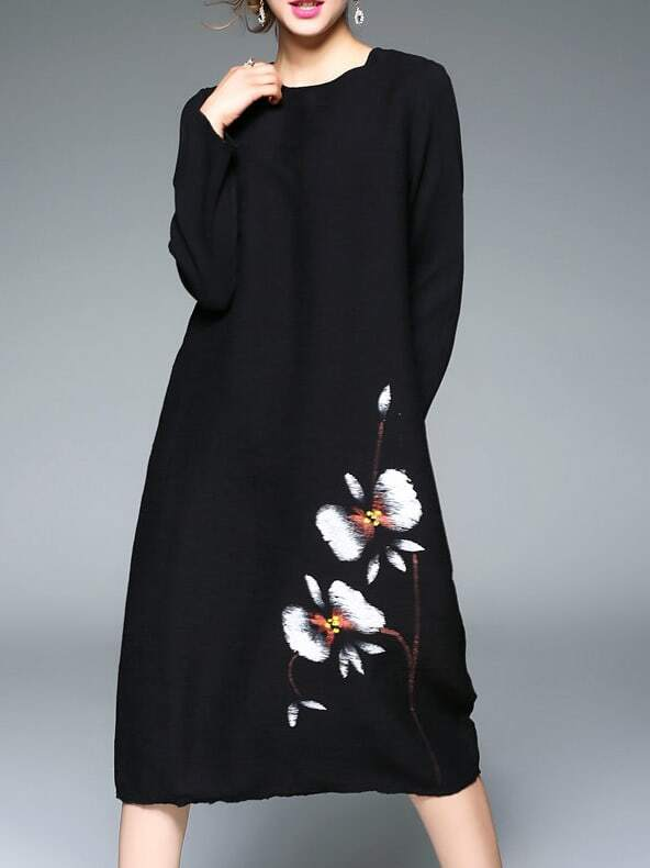 Фото Black Crew Neck Flowers Print Pockets Vintage Dress. Купить с доставкой