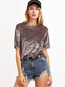Coffee Short Sleeve Crushed Velvet T-shirt
