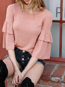 Knit Bell Sleeved Top PEACH